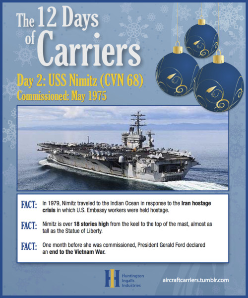 ♫ On the second day of carriers,the Navy gave to me:Two nuclear reactors on the Nimitz.And an island house on USS Enterprise!