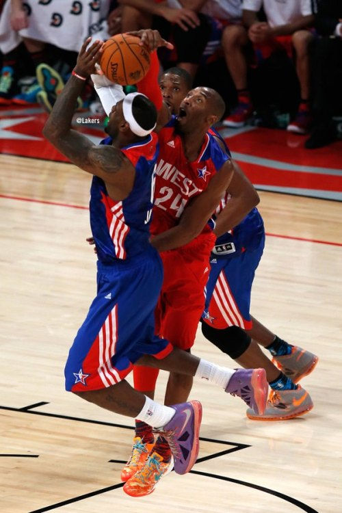Kobe Bryant blocks LeBron James (2013 NBA All-Star Game) (via Los Angeles Lakers Facebook + Video)