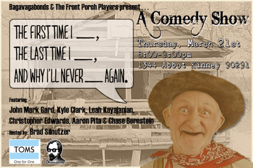 Come laugh yer fannies off with us at Toms this Thursday evening.  Show begins promptly at 8pm, seating is at a premium, so get there early!!!  See y'all there!!