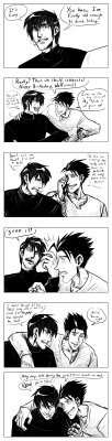 "jeredu:  karaii:  jeredu:  Wolfwood's Birthday Redux by *JereduLevenin I desperately wanted to clean ( [link] ) up, so I did. Took about 5 hours or so, but I am MUCH happier with this version!Wolfwood is finally old enough to drink! Vash can't help but feel a little depressed at how the years are taking their toll on Wolfwood. This is set in the Second Chance universe, AKA the same universe as Gunsmoke in Gaia, but AFTER it. Yes, folks, Gunsmoke in Gaia is not the end of the story… even though I'm only about 1/4 of the way done with that. xD  You clean up really well, Jer!! I love what you've done to modify the expressions and the body language. It's more powerful now, I think, than before. And the last panel's dialogue is also more clear, which is good! This comic still makes me want to cry everytime I read it TuT  Awww, thanks.  You know, I briefly toyed with the idea that because Second Chance happened due to Vash restarting Wolfwood's heart and fusing with him to heal his body, that it might have actually affected his biochemistry… that would actually allow me to work with his aging process getting yanked in teh OTHER direction.  I believe you once mentioned the possibility that Eye of Michael experimented with Plant biology as the basis for their regeneration.  What if fusing with Vash filled in the missing ""blanks"" for Wolfwood's makeup?   AN AU OF AN AU, THAT'S WHAT.  This is horribly tempting, you know. EVEN though I have the Ghost Wolfwood continuation planned out way down the line.   It means all of this gets thrown out the window, of course, but…  I dunno Karaii, which feels are better?  The angst or the happy ""you found a way to save him!""  I honestly can't figure out which version to go with now.    OOOOH I see what you did there!! Hmmmmm!!! Good point! You know, you could always end the ""canon"" ending of GiG to be that Wolfwood's funky aging process is fixed and perhaps even made better after Vash fused with him, to give it a positive, satisfying, happy ending type thing wherein Wolfwood and Vash live a long, active and productive life together. And then, carry on with Ghost!Wolfwood as an alternate ending wherein feels can be prodded and shredded anew. That way, people can end GiG feeling happy, but if they want to continue the feels train, they can just keep reading! Everyone ends up content. And thus you could draw for whichever version of the ending you like and they'd both be plausible, and people can decide which one they wanna stick with while still being able to enjoy both!"