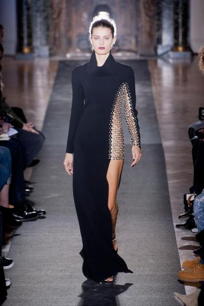 daneikamarch:  Anthony Vaccarello Autumn Fall Winter 2013  Love the chain mail inspired insert.