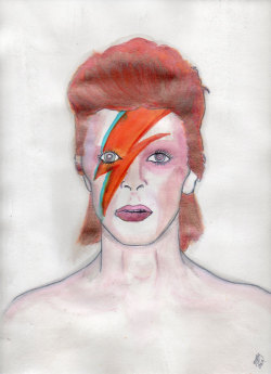 David Bowie watercolor illustration. Done by Michele Witchipoo 2013.