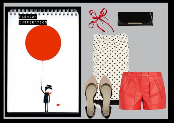 inspire by amandaking49 featuring aldo handbagsDorothy Perkins polka dot top / A.L.C. leather shorts / ASOS pointy flat / ALDO  handbag / Sticker Monsieur et le ballon rouge - Blanca Gomez - Smallable, $89