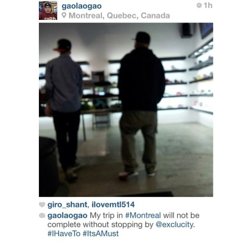 We wanted to S/O @gaolagao for making Exclucity a must stop on his trip the Montreal. Great feeling. Thank you.