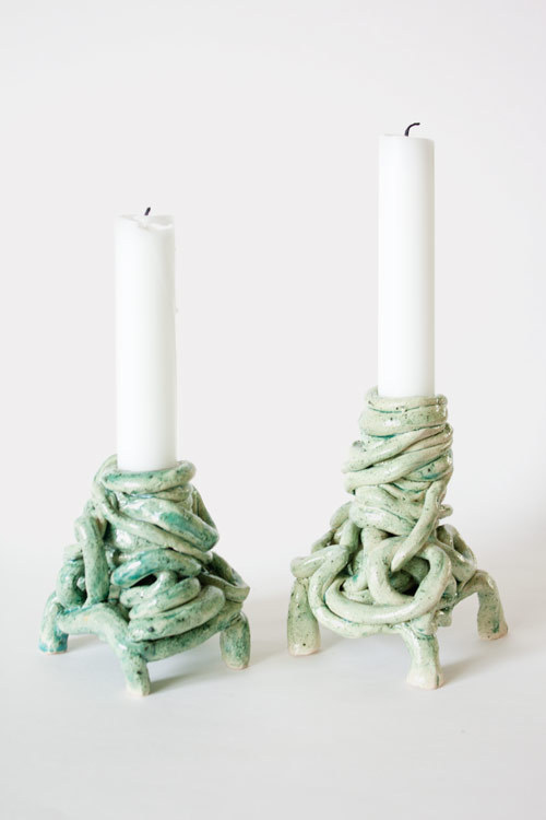 Garbage piles candlesticks, earthenware