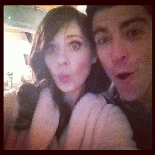 zooeydeschanel:  Surprise! (With @iamgreenfield)