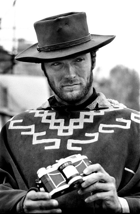 Clint Eastwood photographed on the set of For a Few Dollars More by Tazio Secchiaroli, 1965.