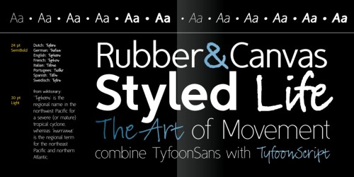 "70% Off Tyfoon Sans (and script) by FontForecast. A low - contrast geometric sans with a slightly condensed appearance, Tyfoon would make an excellent stand - in for the likes of Myriad, and other ""invisible"" informative type, where maybe just a taste of distinction/differentiation may is desired. 6 weights + italics for just shy of $50. The script counterpart is available separately, and on sale at the moment as well."