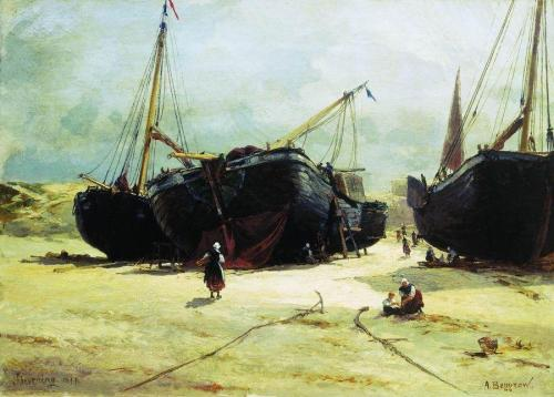 the-paintrist:  Alexander Karlovich Beggrov (1841-1914) - Scheveningen. Repair of fishing vessels - 1877