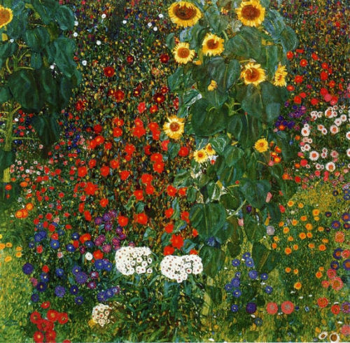 the-paintrist:  tamburina:  Gustav Klimt, Farm Garden with Sunflowers, 1912  Gustav Klimt (July 14, 1862 – February 6, 1918) was an Austrian symbolist painter and one of the most prominent members of the Vienna Secession movement. Klimt is noted for his paintings, murals, sketches, and other objets d'art. Klimt's primary subject was the female body; his works are marked by a frank eroticism.