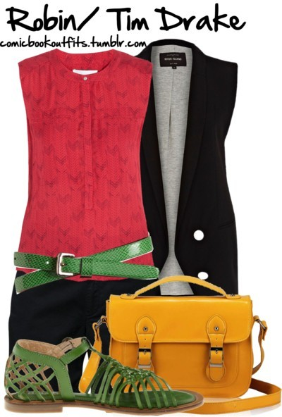 comicbookoutfits:  Robin by m-gnoud featuring a yellow crossbody bag
