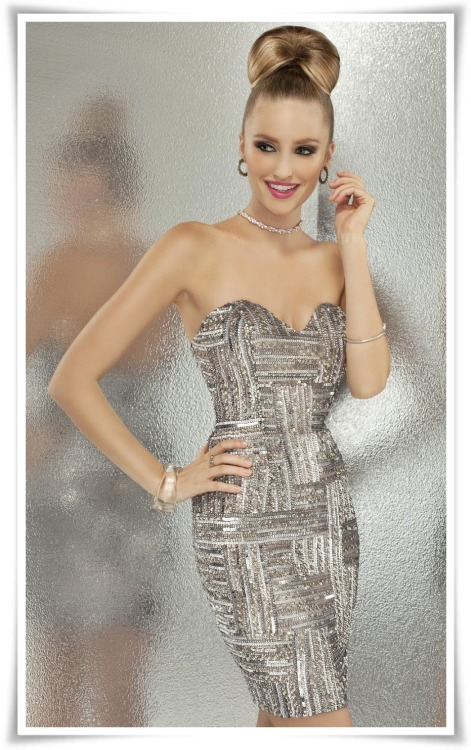 Sequined Strapless Mini Dress by Scala Couture, shop it here. #MiniDressMonday