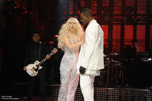 "Lady Gaga performing ""Do What U Want"" on Saturday Night Live with special guest R. Kelly."