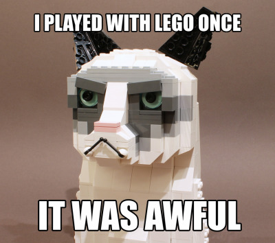 itlego:  Tard the Grumpy Cat Created by Ochre Jelly He's all over the internet and TV at the moment. And might just become Pope!But you're not a proper meme until you've been LEGO-ized. So this makes it official.