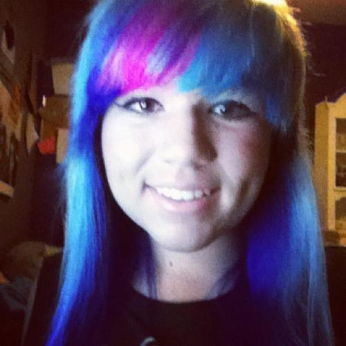 Rainbow bangs, and blue underneath(: Dyed it for a PTV show