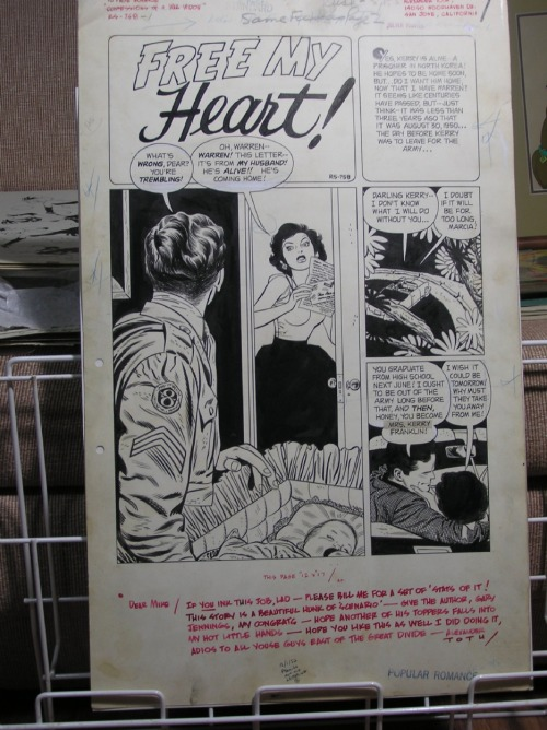 "dennisculver:  I love Toth's note at the bottom. rodrigobaeza:  Alex Toth: ""Free My Heart!"" original artwork (1950's). See Toth's note at bottom: is the Gary Jennings who wrote this story the same person who would later write the best-seller novel AZTEC? (Source: Comicartfans)"