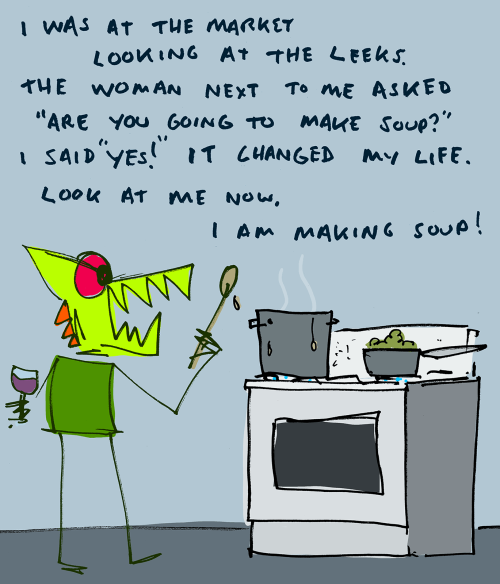 explodingdog:  Making some delicious soup.