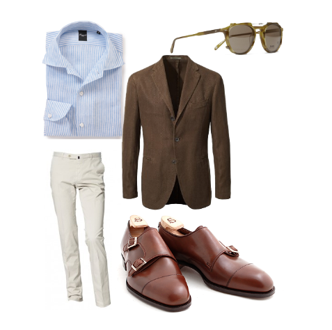 sartorialdoctrine:  Spring and summer inspiration by Sartorial Doctrine. Sportcoat: Boglioli, Trousers: Incotex, Shirt: Finamore, Shoes: Alfred Sargent, Sunglasses: Garrett Leight.