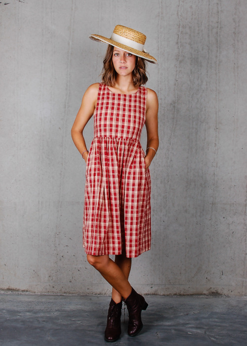 Brick Red Gingham Dress