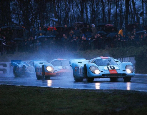 bestwheelbase:  motorsportlegends:  These Flat-12 monsters shook the motoring world in 1970 in which Porsche earned its first—and defiantly not last—win at the 24 Hours of Le Mans in 1970. These Porsche 917s are pictured at the 1970 1000KM of Brands Hatch, in which the 917s would prove victorious against the then dominant Ferrari 512 with a 1, 2, 3 finish; in a typical Porsche fashion.  2300mm.