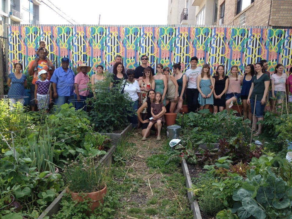 Gardeners in front of Mural, June 25, 2012.