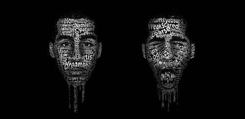 ronaldferree:  The typographical portrait I did of myself.