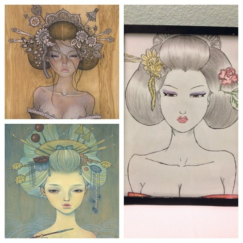 Found this hiding in the closet-an interpretation of pieces #Oiran & #Yuuwaku by my sister, Somally, as a gift for my 21st birthday. Went with the #geisha & #japanese theme of the surprise party @kwinny threw for me. Can't wait to hang this! #art @audkawa