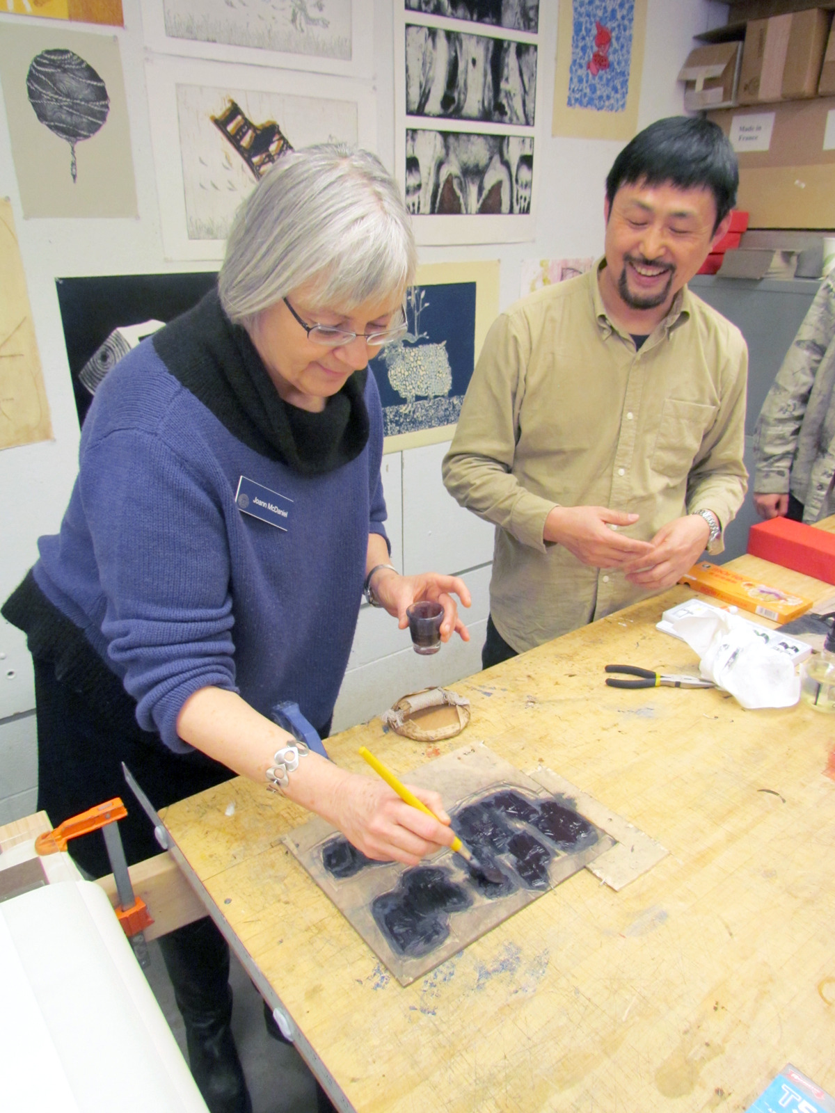 printstamps:  Workshop with Witt Visiting Artist Fang Limin Artist Fang Limin conducted a fantastic workshop in water-based relief block printmaking at Stamps Print Studios in which each student and many staff and faculty members participated in printing their own images. Using Fang's blocks, some 40+ prints were printed and each impression uniquely hand-colored.