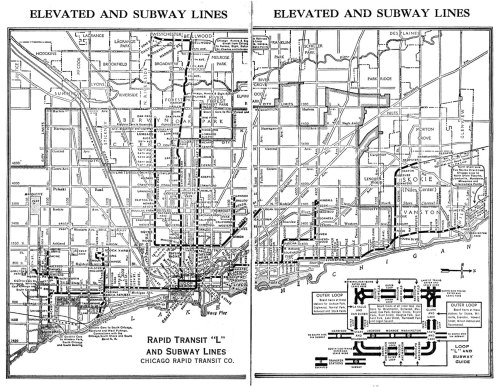 (via 1944 Chicago L Elevated Train Map - Chicago IL US • mappery)