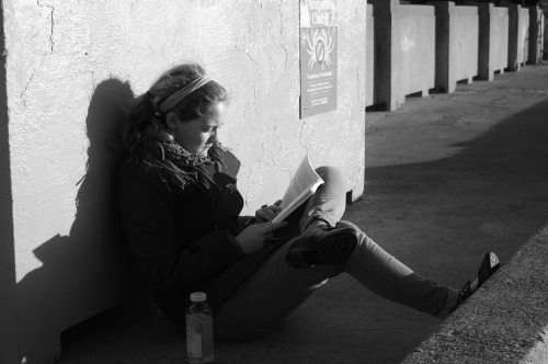 Reading on a pier in Fisherman's Warf