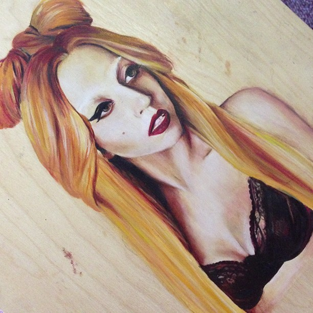 artforadults:  amymastrine submitted ——————- Lady Gaga / oil on birchLove your blog :)