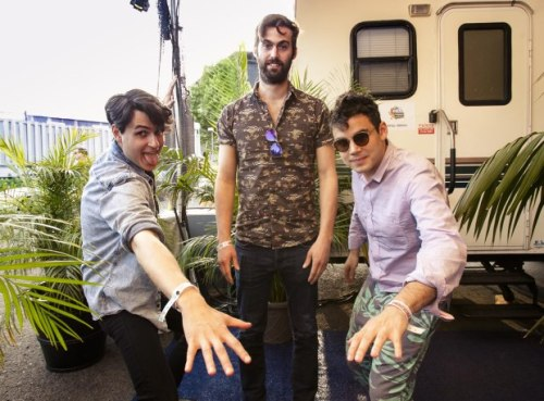 gangstainthemiddle:  Ezra Koenig, Rostam Batmanglij, and Chris Tomson at KROQ's Weenie Roast 2013