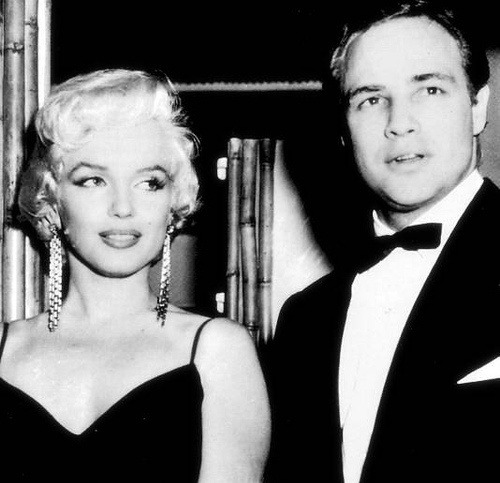 eternalmarilynmonroe:  Marilyn Monroe and Marlon Brando attending the Rose Tattoo premiere, 1955.