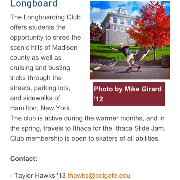 So pumped to see @colgateuniv at last has a #longboard club! Props to Taylor and the other guys who got it started - hoping for strong continued growth. So many good hills on and near campus, including Madison County Gravity Fest venue 15 min away