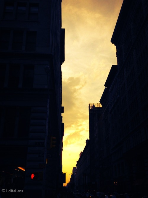 A Bolt of Sunset…  18th Street & 5th Ave., NYC