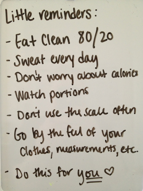 dailyfitspo:  Eat clean 80/20. This is so important!Don't beat yourself over minor not-so-clean choices. Just enjoy your little indulgences and then go back on track,