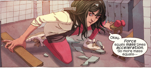 Why you should be reading the new Ms Marvel  We quickly discover that Khan is a big comic book fan just like us. She has a major geek obsession with the Avengers and even writes fanfiction about them. She wants to be just like her hero Captain Marvel (a.k.a. Carol Danvers), and imagines that joining up with the Avengers and becoming a hero would be the key to figuring out who she is. She's a great representation of a teenage comics fan, which makes her likeable and entirely relatable. When we finally see Khan get her powers, the ability to shapeshift isn't all it's cracked up to be. It's hard to control and at first it only happens when she feels uncomfortable and wants to hide from those around her. Khan is a smart girl though, and she's already well on her way to figuring out how her powers work.  [READ MORE]