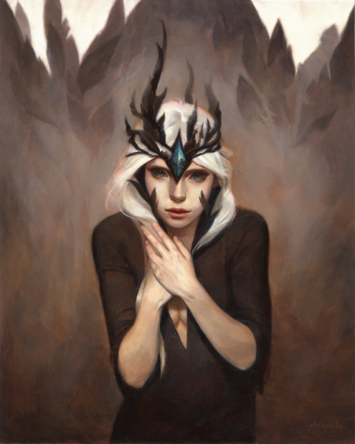 "chrystalchan:  Hi Everyone! Just wanted to show one of my new paintings, ""Black Bird"" 16""x20"" oil on board.  It was a commission based on one of my past drawings I did a few months ago, also named Black Bird ; )."