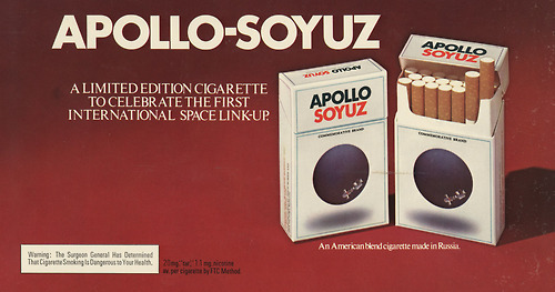 scanzen:  Apollo-Soyuz ad, 1975. via stanford.edu, huge thx to taste-like!
