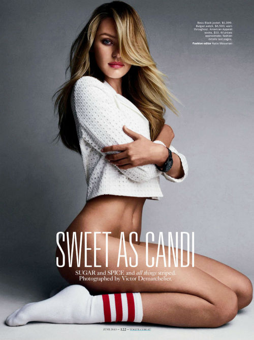 A stunner Candice Swanepoel poses in front of Victor Demarchelier's lens for the June edition of Australian Vogue magazine, styled by Katie Mossman.