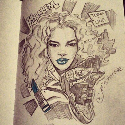 #DOPE @TeyanaTaylor #HARLEMKNIGHT Original #Artwork by @Misterode!  #SUPERKUTE!! #Talented! #KAOIRFORCE! www.KAOIR.com