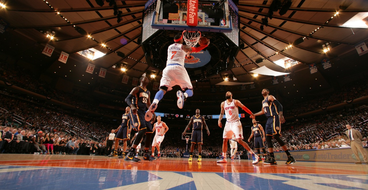 nba:  Carmelo Anthony of the New York Knicks shoots a reverse layup against the Indiana Pacers in Game Five of the Eastern Conference Semifinals during the 2013 NBA Playoffs on May 16, 2013 at Madison Square Garden in New York City. (Photo by Nathaniel S. Butler/NBAE via Getty Images)
