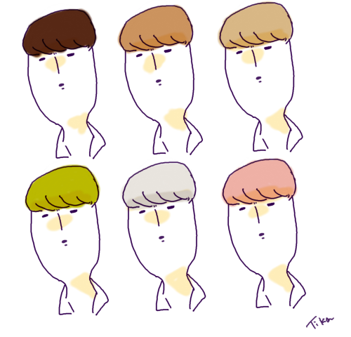 sehun's & his hair colors