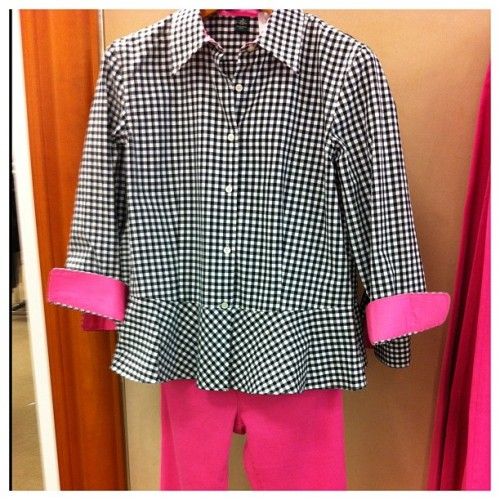 Thinking about it.  #totallyme #ralphlauren #gingham #black #pink #peplum #cute