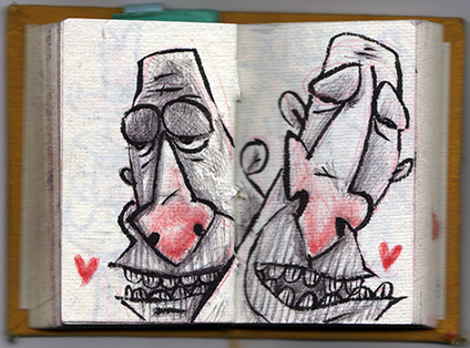 """Odd Couple""- sketch in my lil' yellow pocket sketchbook. Medium: brush pen, black and red ballpoint pen."
