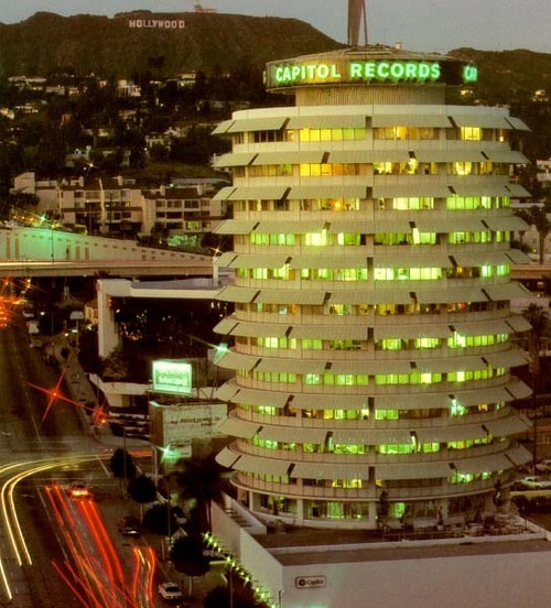 quiteaspectacle:  the capitol records building, hollywood. welton becket, 1956.