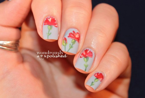 wondrouslypolished:  And mattified carnations!