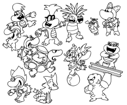 Ever wonder which pokemon each koopa kid would use in some weird crossover? …Well that makes one of us. Gurdurr is creepy as hell btw
