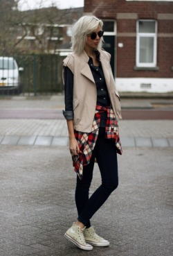 what-do-i-wear:  Minusey gilet, Monki checkered shirt, Topshop jeans, Converse All Stars, Romwe sunnies (image: connectedtofashion)