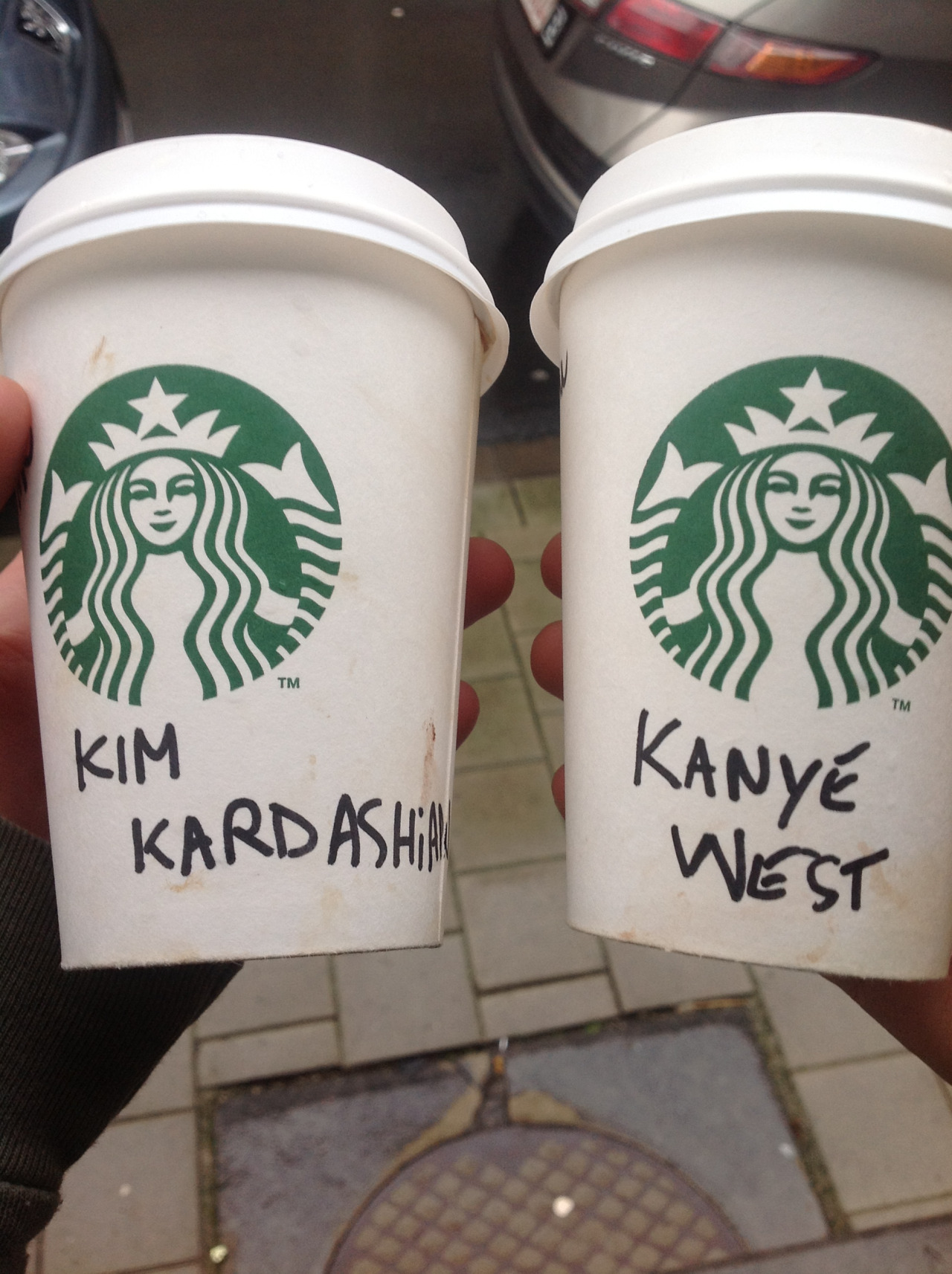 knywst:  Me and my friend drinking Starbucks